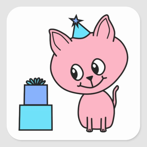 Sweet Pink Kitten Wearing a Birthday Hat. Square Sticker