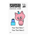 Sweet Pink Kitten Wearing a Birthday Hat. Stamps