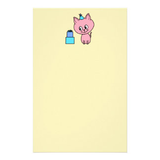 Sweet Pink Kitten Wearing a Birthday Hat. Stationery