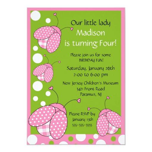 Sweet Pink Ladybug Birthday Invitation