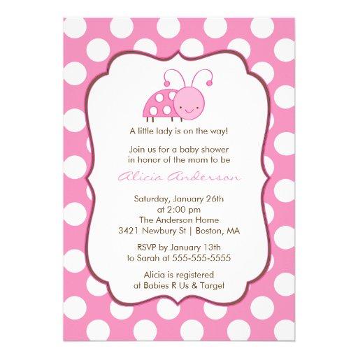 Sweet Pink Ladybugs Baby Shower Invitation