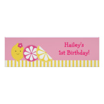 Sweet Pink Lemonade Birthday Banner Sign Poster