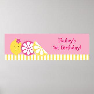Sweet Pink Lemonade Birthday Banner Sign Poster