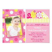 Sweet Pink Lemonade Photo Birthday Invitations