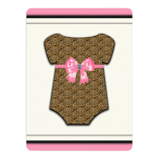 Sweet Pink Leopard Baby Shower Card