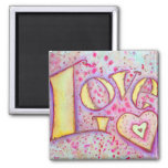 Sweet Pink Love Art Painting Magnet Refrigerator Magnet