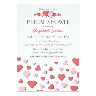 Sweet Pink Love Heart Bridal Shower Invitation