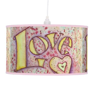 Sweet Pink Love Word Art Custom Pendant Lamp