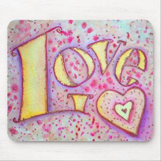 Sweet Pink Love Word Art Painting Mousepad