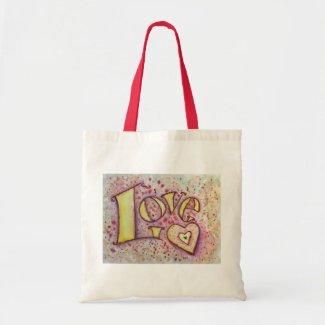 Sweet Pink Love Word Art Painting Tote Bag