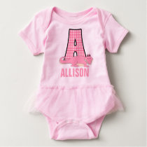 Sweet Pink Monogram A for Girls Baby Bodysuit