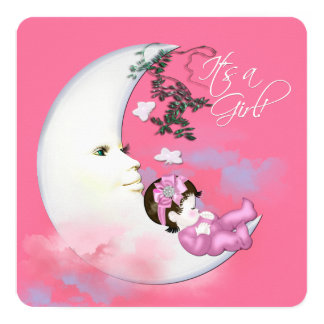 Sweet Pink Moon Baby Shower Personalized Announcement