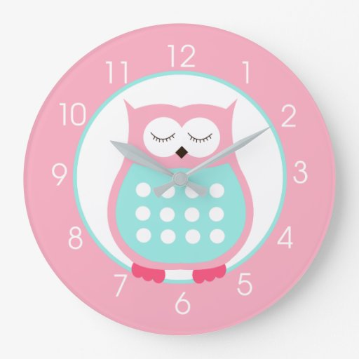 Sweet Pink Owl Custom Large Wall Clock