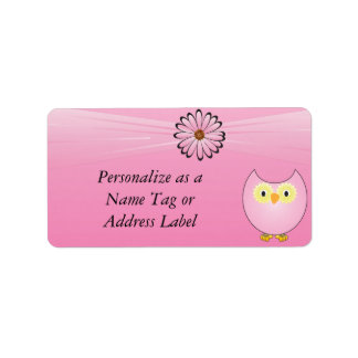 Sweet Pink Owl Label