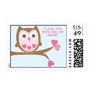 Sweet Pink Owl Valentines Day Postage