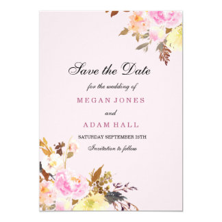 Sweet Pink Peach Floral Save The Date Invitation