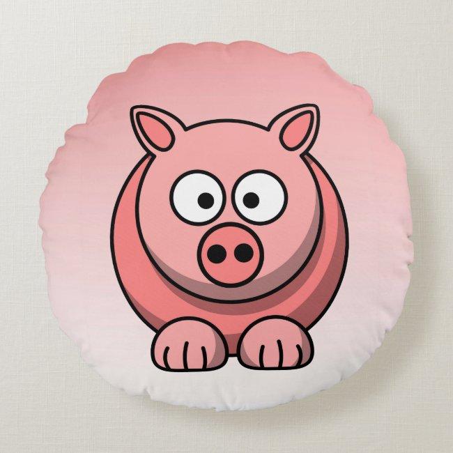 Sweet Pink Pig Round Pillow