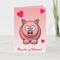 Sweet Pink Pig Valentine Card