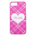 Sweet Pink Plaid n Heart Monogram iPhone 7 Case