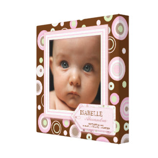 Sweet Pink Polka Dot Baby Girl Photo Birth Canvas Stretched Canvas Prints