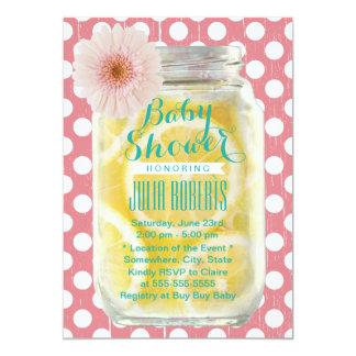 Sweet Pink Polka Dots Mason Jar Baby Shower 5x7 Paper Invitation Card