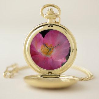 Sweet Pink Poppy Heart Pocket Watch