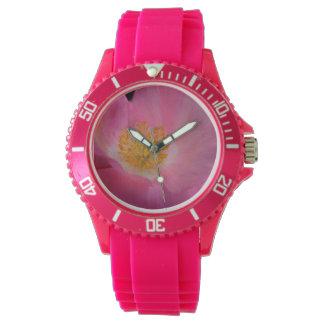 Sweet Pink Poppy Heart Wristwatch