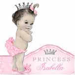 """Sweet Pink Princess Baby Girl Statuette<br><div class=""""desc"""">Beautiful pink and gray princess baby shower acrylic sculpture can be personalized and used as a cake top and table decoration and used in baby&#39;s nursery. This pretty pink princess baby shower decoration also makes a perfect personalized gift for a baby girl.</div>"""