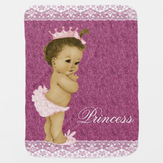 Sweet Pink Princess Baby Receiving Blanket