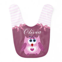 Sweet Pink Purplish Owl Personalized Baby Bib