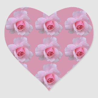 Sweet Pink Roses Heart Shaped Stickers