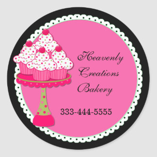 Sweet Pink Round Cupcake Bakery Stickers