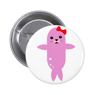 Sweet pink seal red bow pinback button