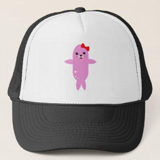 Sweet pink seal trucker hat