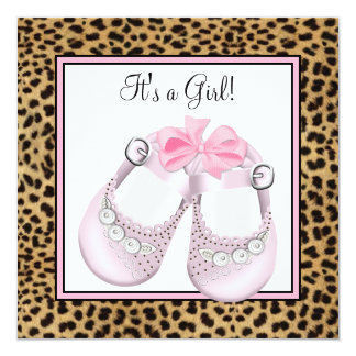 Sweet Pink Shoes Pink Leopard Baby Girl Shower Announcement