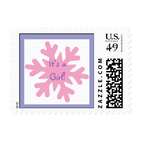 Sweet Pink Snowflake Winter Postage Stamps