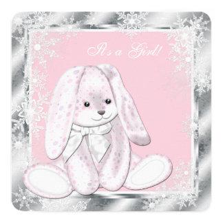 Sweet Pink Snowflake Winter Wonderland Baby Shower Card