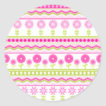 Sweet pink spring pattern with flowers and dots round sticker