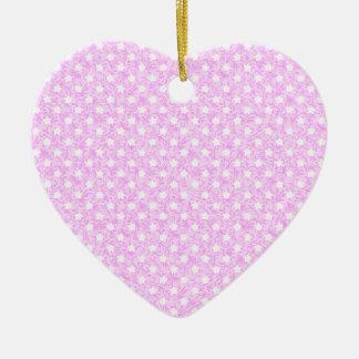 Sweet Pink Star Polka Dot Ceramic Ornament