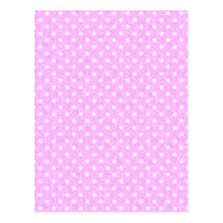 Sweet Pink Star Polka Dot Postcard