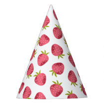 Sweet Pink Strawberry Seamless Pattern Party Hat