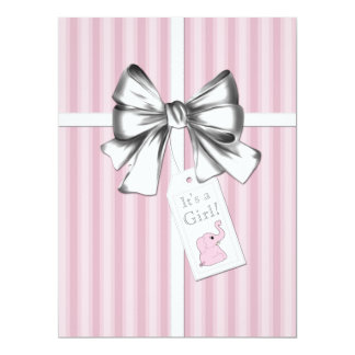 Sweet Pink Stripe Pink Elephant Baby Shower Card