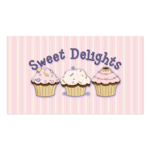 Sweet Pink Striped Bakery Business Cards (back side)