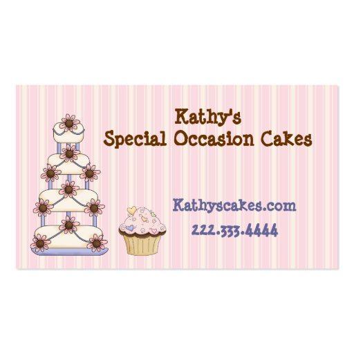 Sweet Pink Striped Bakery Business Cards (front side)