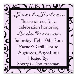 "Sweet Pink Sweet Sixteen Invitations 5.25"" Square Invitation Card"