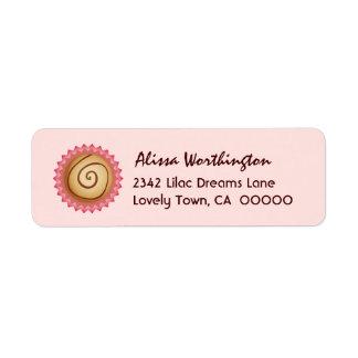 Sweet Pink Swirl Chocolate Candy A02 Return Address Label