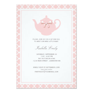 Sweet Pink Teapot Baby Sip and See Tea Party 5x7 Paper Invitation Card