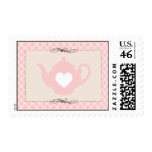 Sweet Pink Teapot Tea Party Postage Stamp