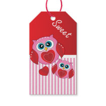 Sweet Pink Valentine Owls Gift Tags