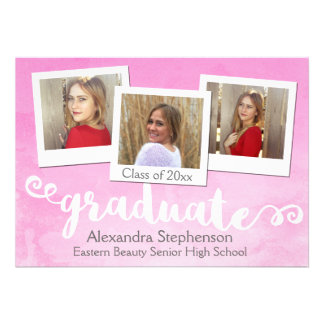 Sweet Pink Watercolor Girls 3 Photo Graduation Card